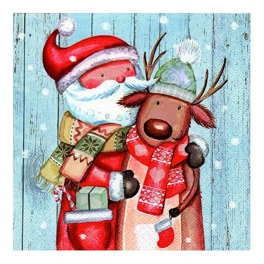 Χαρτοπετσέτα για Decoupage, Santa & Reindeer, 1τεμ.