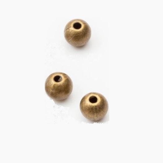 Χάντρες μεταλλικές με τρύπα, 32 τμχ, bronze