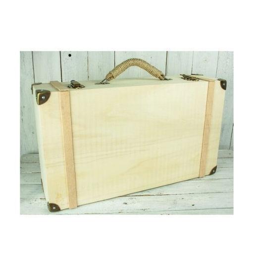 Βαλίτσα ξύλινη Medium 43x25 cm με χερούλι από σχοινί