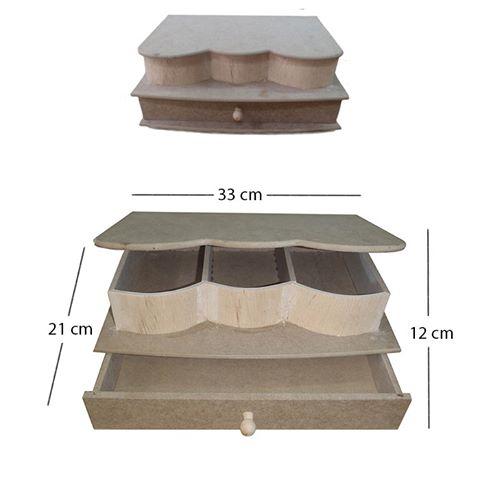 Μπιζουτιέρα με συρτάρι και 3 θήκες MDF 33x21xY12cm