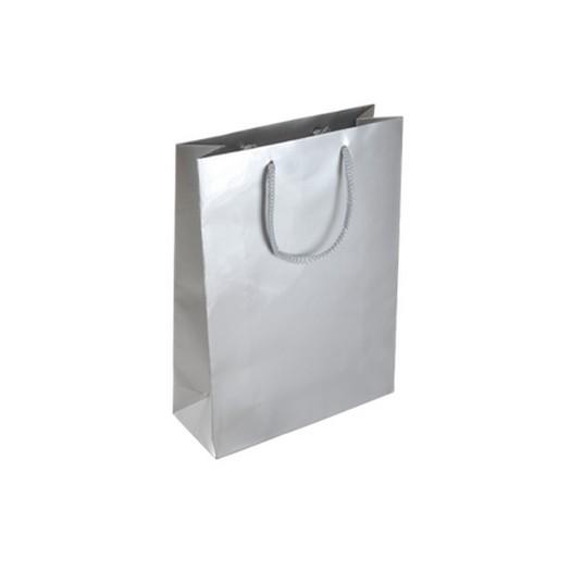 Τσάντα χάρτινη ματ πλαστικοποίησης με κορδόνι, ασημί 15x9x24cm