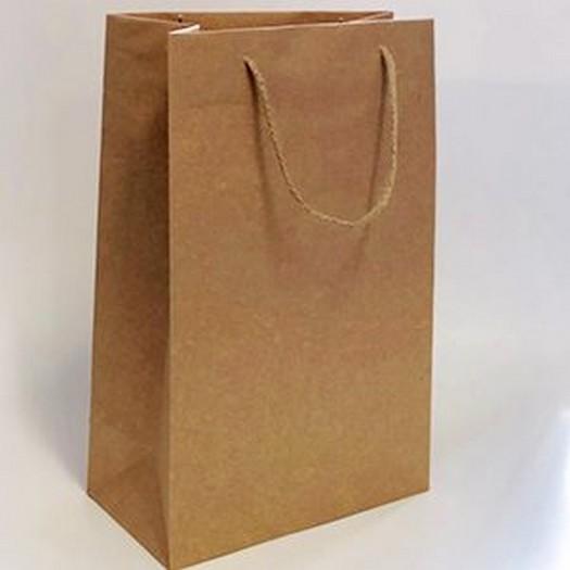 Τσάντα χάρτινη με κορδόνι, κράφτ 13x5x13cm