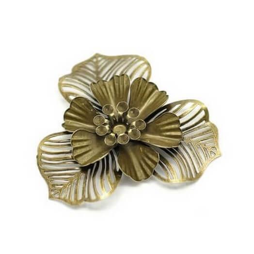 Antique Bronze  Flower Filigree 48mm - σετ 3 τεμ.