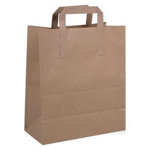 Τσάντα χάρτινη με πλακέ χεράκι, κραφτ 18x9x22cm
