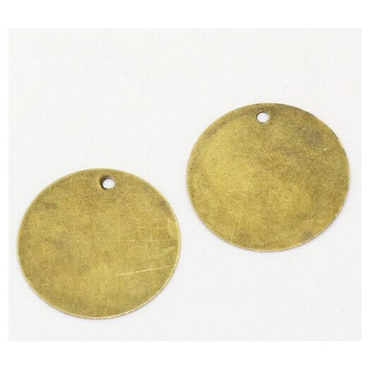 Antique Bronze Tags Round 20mm - σετ 30 τεμ.