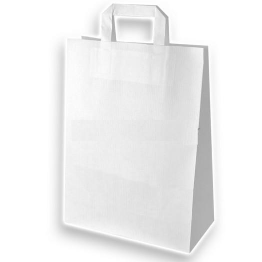 Τσάντα χάρτινη με πλακέ χεράκι, λευκή 26x12x35cm