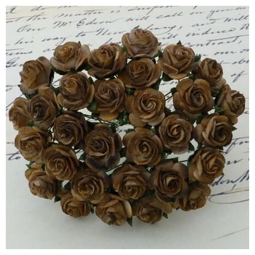 Λουλούδια 2 χρωματικοί τόνοι  CHOCOLATE - BROWN, 25mm