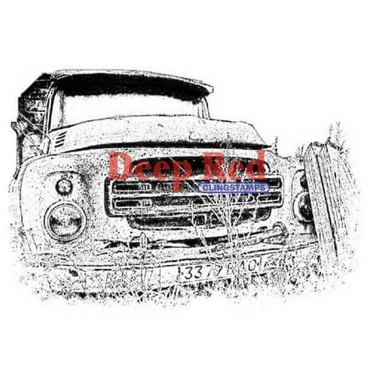 Deep Red Cling Stamp - Rusty Truck - 7,60x5,10cm