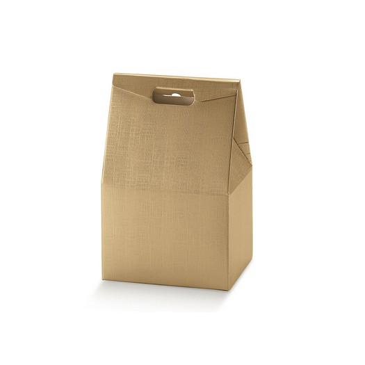 Τσάντα χάρτινη χρυσή με χεράκι, 28x20x41cm