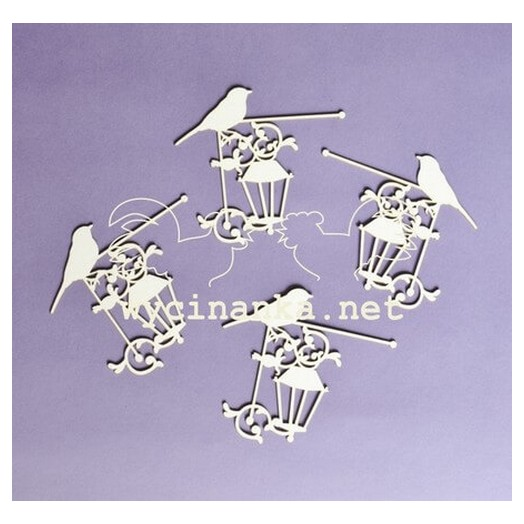 Διακοσμητικά Chipboard Πουλί στο Φανάρι, 5-6cm ,4τεμ.