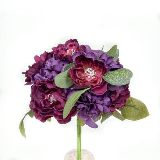 Μπουκέτο με ορτανσίες και καμέλιες, 33cm, dark purple