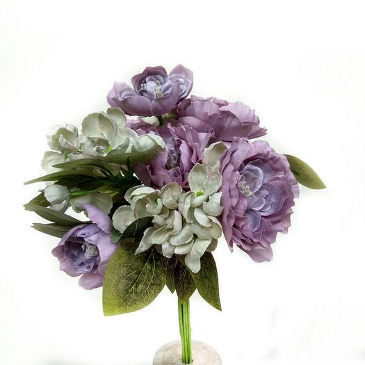 Μπουκέτο με ορτανσίες και καμέλιες, 33cm, light purple