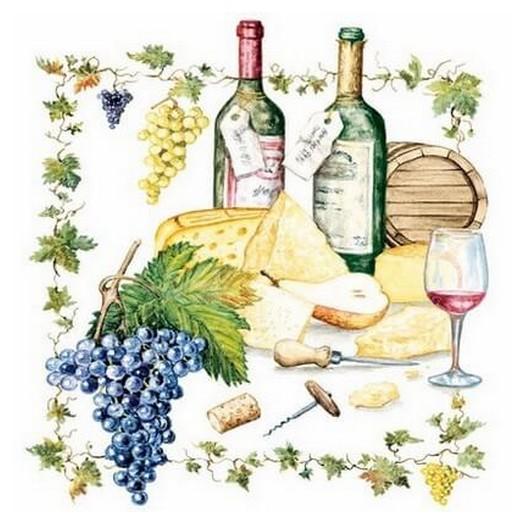 Χαρτοπετσέτα για Decoupage Wine And Cheese, 1τεμ