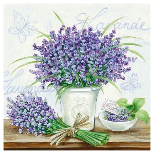Χαρτοπετσέτα για Decoupage Lavender Scene Cream, 1 τεμ