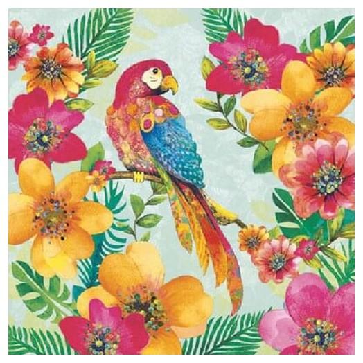Χαρτοπετσέτα για Decoupage Tropical Parrot, 1τεμ