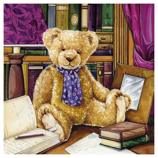 Χαρτοπετσέτα για Decoupage, Teddy In Library, 1 τεμ