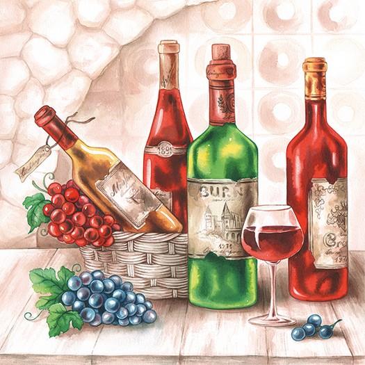 Χαρτοπετσέτα για Decoupage, Wine Cellar, 1τεμ.