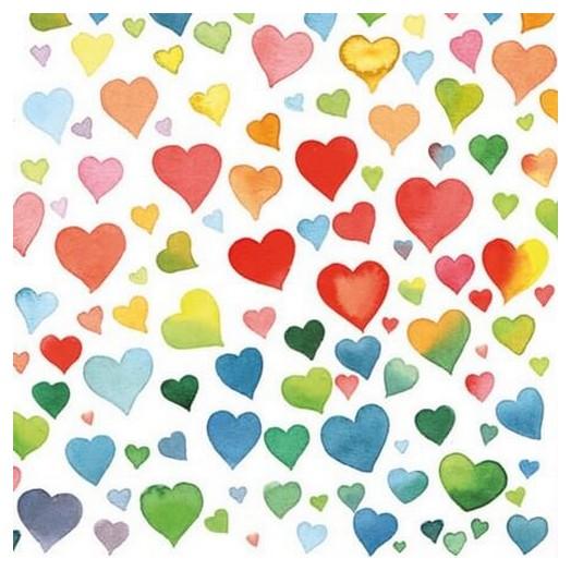 Χαρτοπετσέτα για Decoupage Colourful Hearts, 1 τεμ