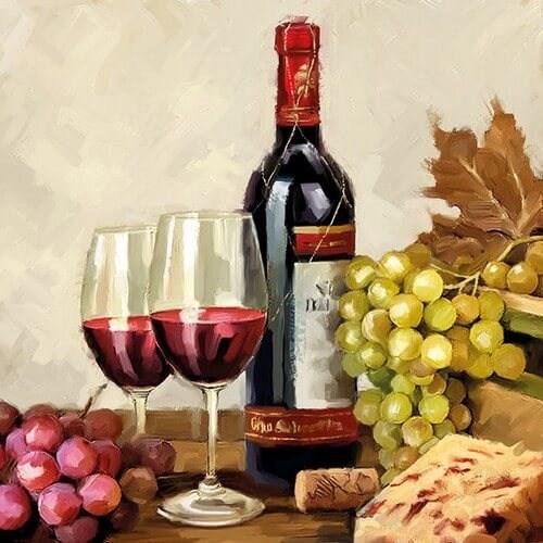 Χαρτοπετσέτα για Decoupage Wine & Grapes, 1 τεμ