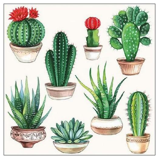 Χαρτοπετσέτα για Decoupage Cactus White, 1 τεμ