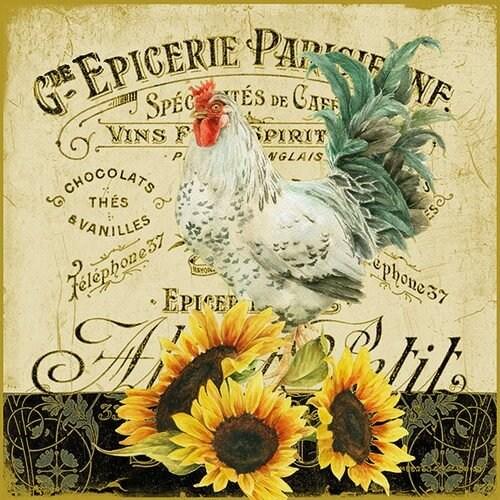 Χαρτοπετσέτα για Decoupage, Rooster & Sunflowers, 1 τεμ