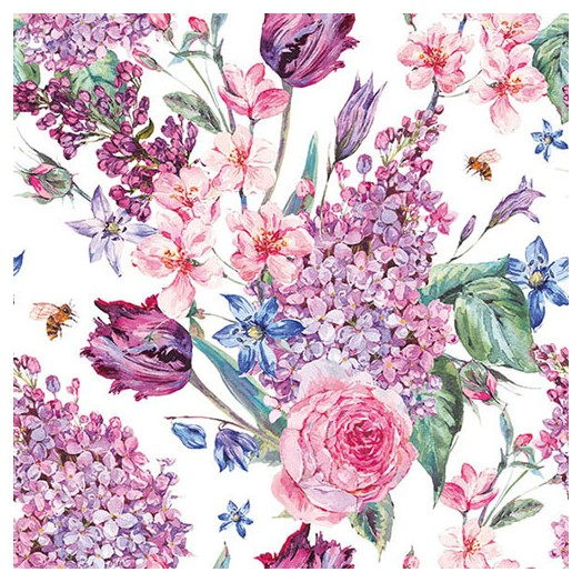 Χαρτοπετσέτα για Decoupage,  Flower Composition White 1 τεμ