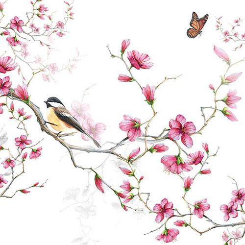 Χαρτοπετσέτα για Decoupage, Birds & Blossoms White 1 τεμ