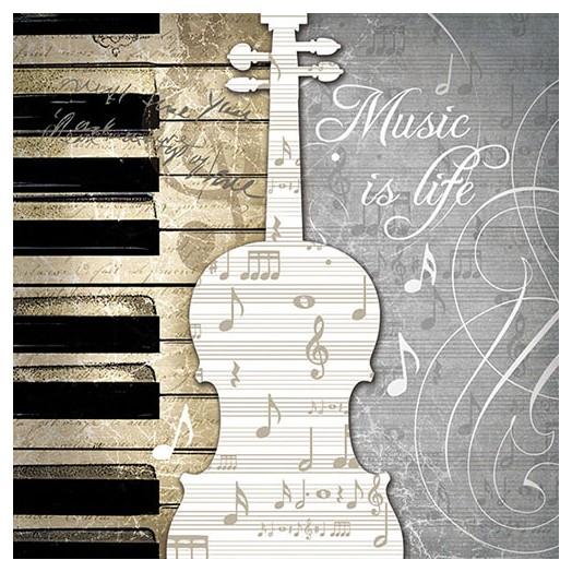 Χαρτοπετσέτα για Decoupage, Music Is Life, 1 τεμ