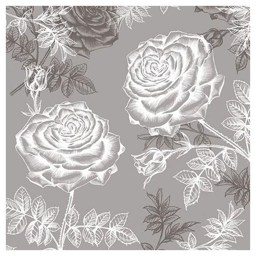 Χαρτοπετσέτα για Decoupage, Etching Roses Grey 1 τεμ