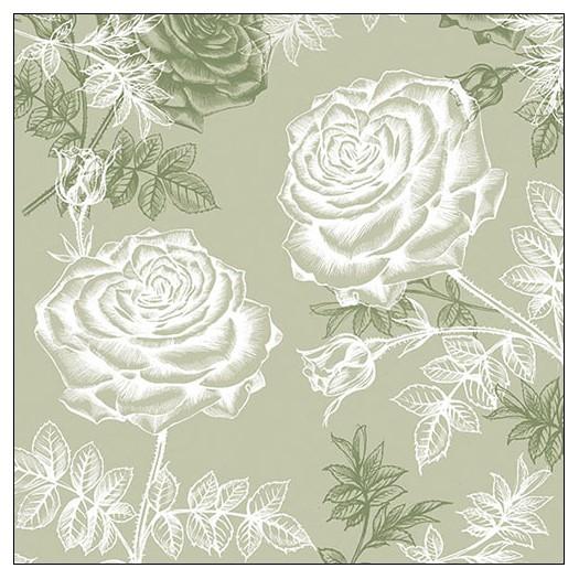 Χαρτοπετσέτα για decoupage, Etching Roses Green, 1 τεμ.