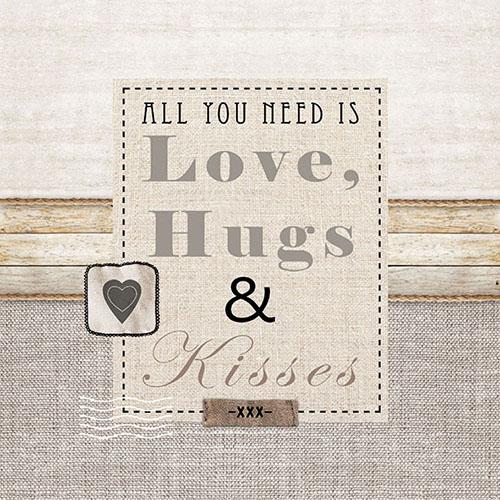 Χαρτοπετσέτα για Decoupage, Love,Hugs & Kisses, 1 τεμ