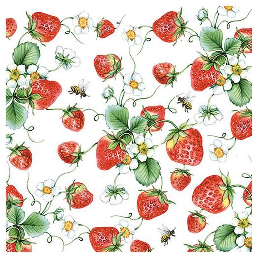 Χαρτοπετσέτα για Decoupage, Strawberries All Over White 1 τεμ