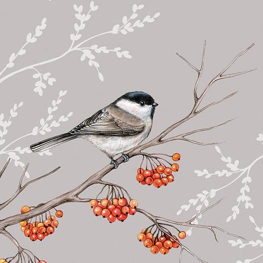 Χαρτοπετσέτα για Decoupage, Bird On Branch Grey, 1τεμ.