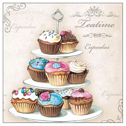 Χαρτοπετσέτα για decoupage, Cupcakes on Etagere, 1 τεμ.