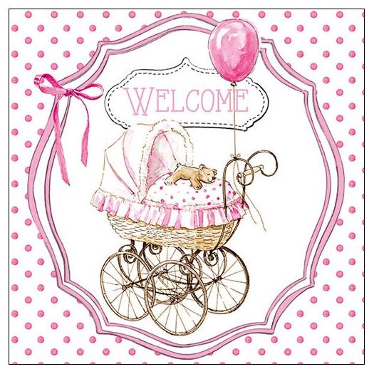 Χαρτοπετσέτα για decoupage, Welcome pink, 1 τεμ.