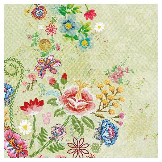 Χαρτοπετσέτα για decoupage, Embroidery Flowers Green, 1 τεμ.