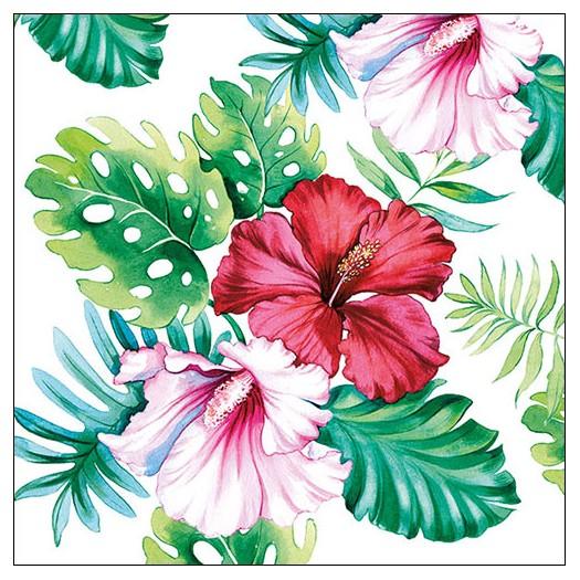Χαρτοπετσέτα για decoupage, Hisbiscus Floral White, 1 τεμ.