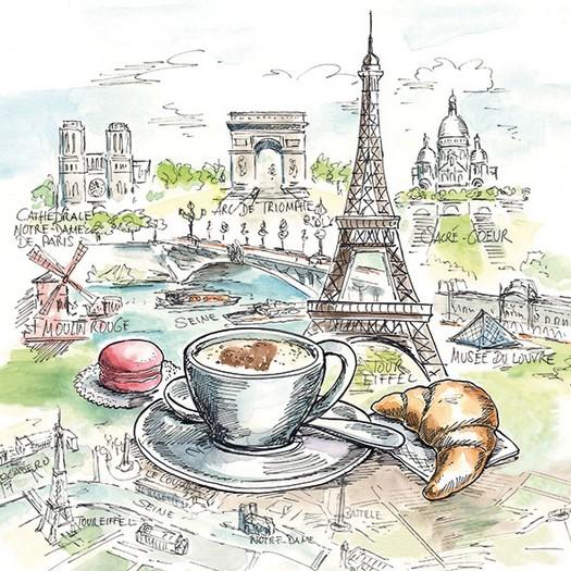 Χαρτοπετσέτα για Decoupage, French Breakfast 1 τεμ.