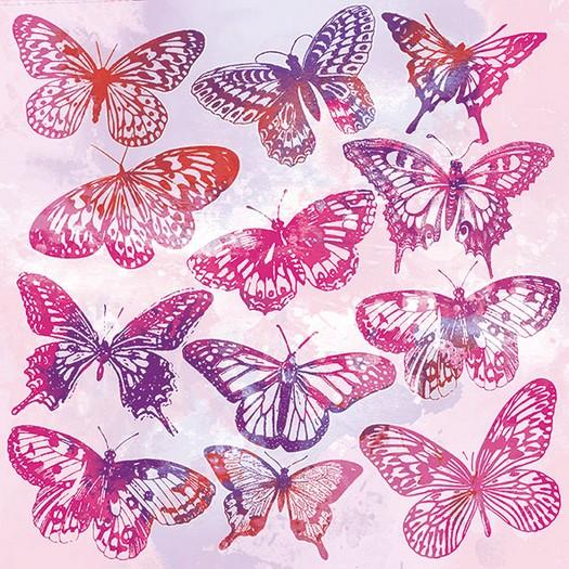 Χαρτοπετσέτα για Decoupage, Aquarell Butterflies Pink 1 τεμ.
