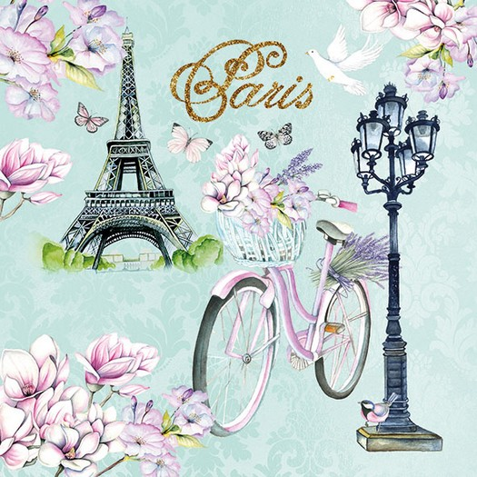 Χαρτοπετσέτα για Decoupage, Bike In Paris 1 τεμ.