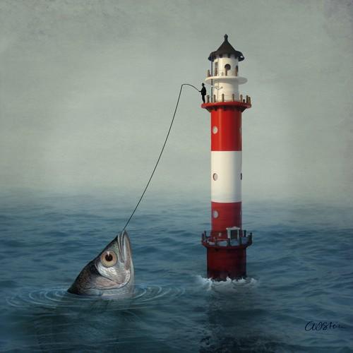Χαρτοπετσέτα για decoupage, Lighthouse and fish,1 τεμ.