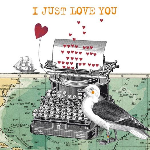 Χαρτοπετσέτα για decoupage, Just Love You, 1 τεμ.