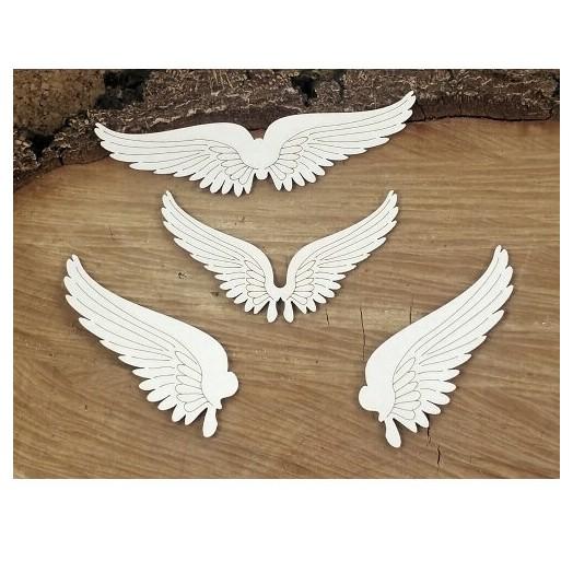 Διακοσμητικά Chipboard, Flying hearts - Set of wings, 4 τεμ