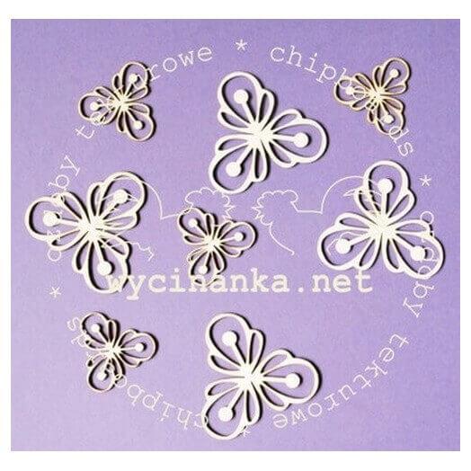 Διακοσμητικά Chipboard λουλούδια, 2,5 - 4 cm, σετ 8 τεμ.