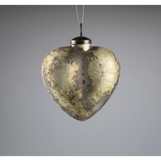 Καρδιά στολίδι, grunge gold 10cm