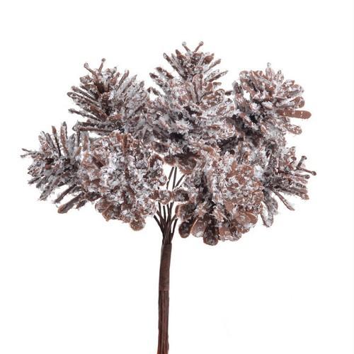 Μπουκέτο κουκουνάρια χιονισμένα, brown-white, 13cm