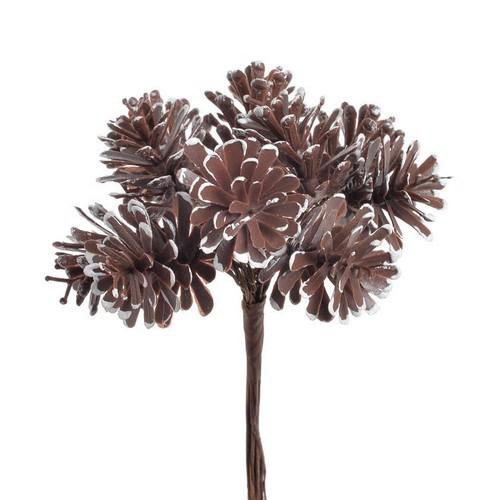 Μπουκέτο μεγάλα κουκουνάρια, brown-white, 11cm