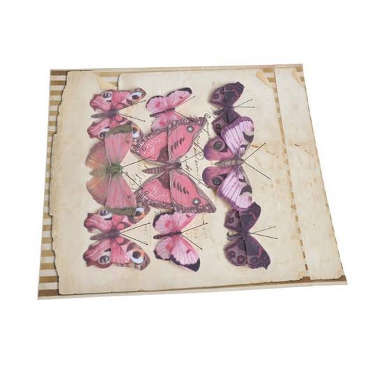 Πεταλούδες με κλιπ, 9 τεμ, purple rose