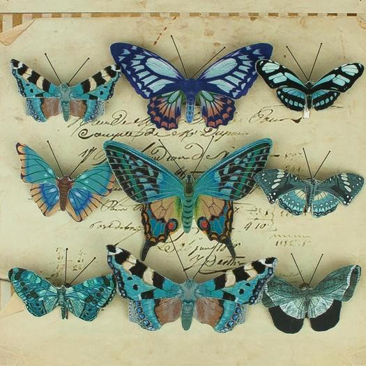 Πεταλούδες με κλιπ, 9 τεμ, blue