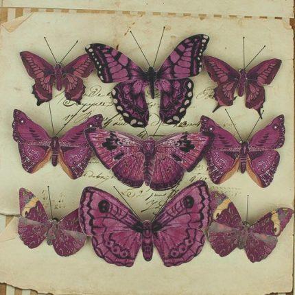 Πεταλούδες με κλιπ, 9 τεμ, dark purple